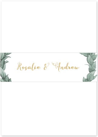 The Leafy Love Foil Belly-Band is a beautiful, foil-accented belly-band to perfectly package your beautiful wedding invitation suite.