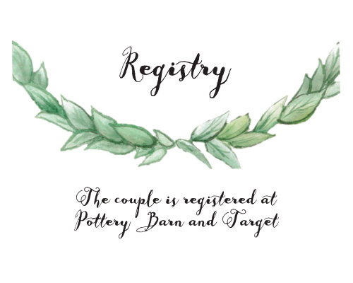 As is tradition, your guests will get you a gift on your wedding day. Help them to avoid confusion with the Leafy Love Foil Registry Cards.