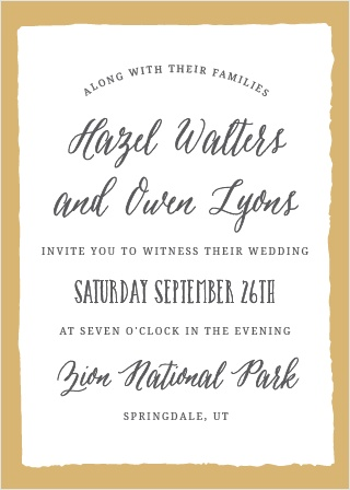 The Painted Border Foil Wedding Invitation sports a quaintly simple yet distinct border. Tons of room to add all of your details, while maintaining a look of class and sophistication.
