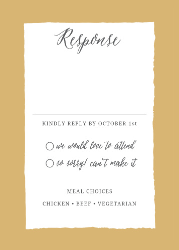 Make your guests delighted to deliver their response to you with the Painted Border Foil Response Cards.