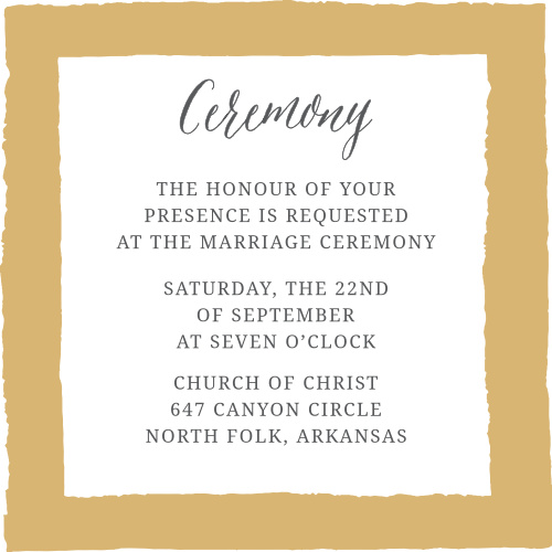 The Painted Border Foil Ceremony cards offer a vintage feel with a painted border and your choice of colors.