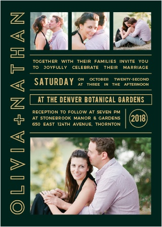 The Photo Romance Foil is a unique and stylish photo wedding invitation that can be customized instantly online with your own photos and colors.