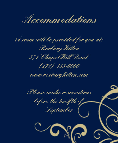 The Simple Swirls Foil accommodation cards will help your guests feel welcome and included for the big day! Choose from unlimited color, Foil and font options to make it yours!