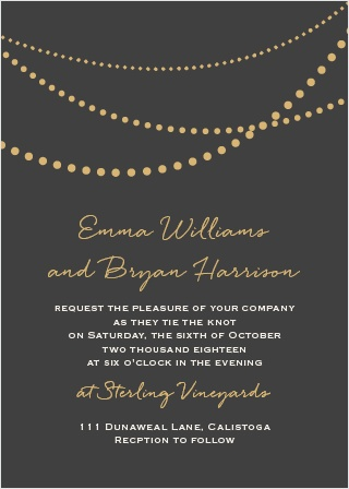 The String Lights Foil Wedding Invitation is fun, playful, and trendy. It will truly set the tone for your big day. Choose your colors, customize your text, and change the font to match your theme!
