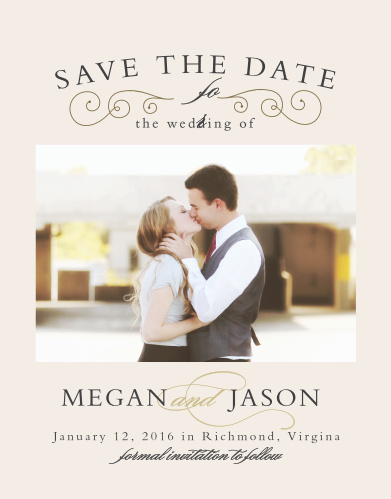 Matching the Swirl Frame Foil Invitation are the similarly beautiful Save-the-Date Magnets.