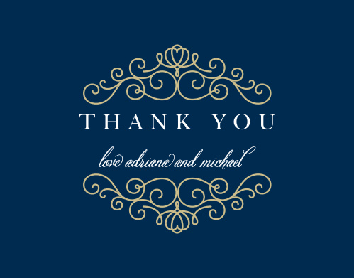 Express your gratitude to family and friends with the Royal Scrolls Foil Thank You Card. Completely customizable, too!