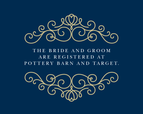 Having a wedding registry has become tradition, so make sure you point your guests in the right direction with the Royal Scrolls Foil Registry Cards!