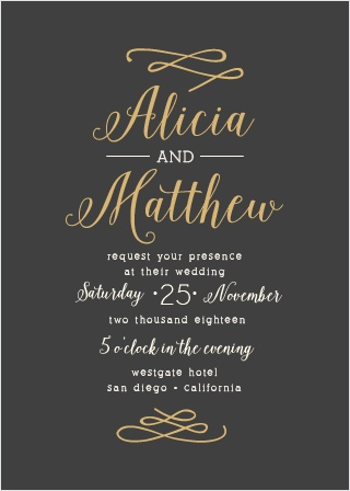 Formal wedding invitations match your color style free whimsical calligraphy foil wedding invitation stopboris Images