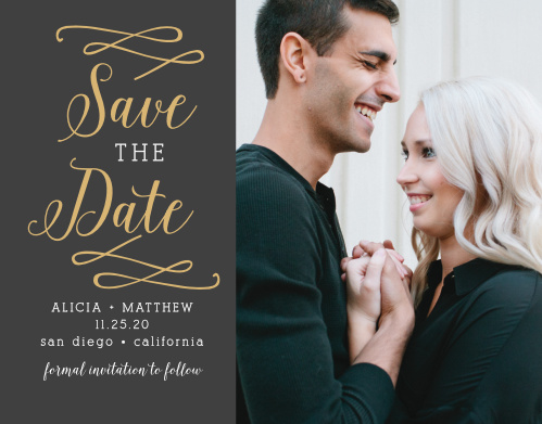 Your photo will look amazing next to the real gold foil on this exquisite Whimsical Calligraphy Foil Save-the-Date magnet.