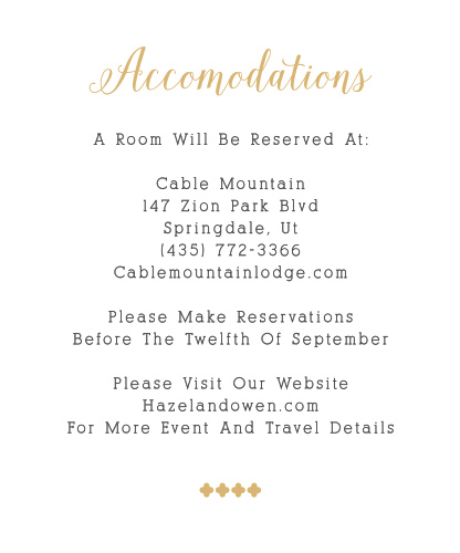 Many of your guests will travel a long distance to be at your big event, so make sure they know the best places to stay and how to travel to be at your wedding with the Whimsical Calligraphy Foil Accommodation Cards!