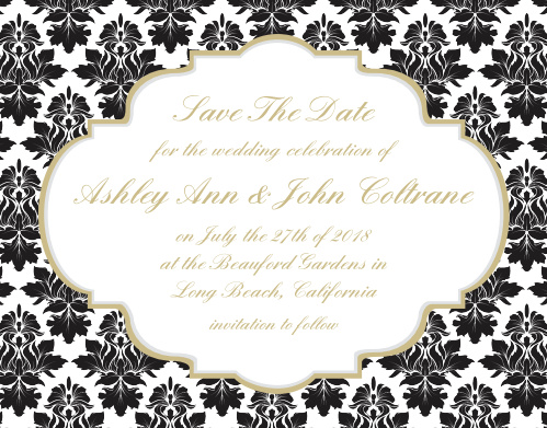 The Victorian Frame save the date magnets are a great way to let your friends and family see what a cute couple you are. The foil touch is the perfect amount to give your cards an upgraded look.
