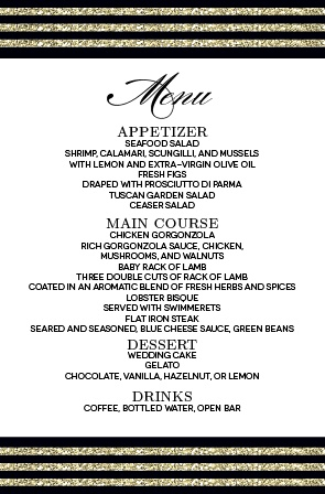 Add some sparkle to your wedding dinner as you inform your guests of the awesome menu!