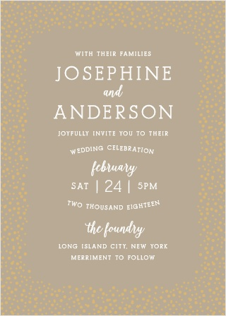 The Confetti Dots Foil Wedding invitation is sure to impress your guests.