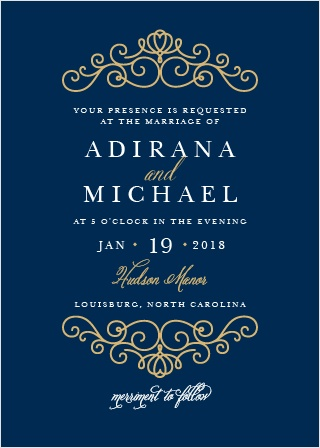 Rich navy and beautiful real gold or silver foil come together to make the beautiful Royal Scrolls Foil Wedding Invitation.