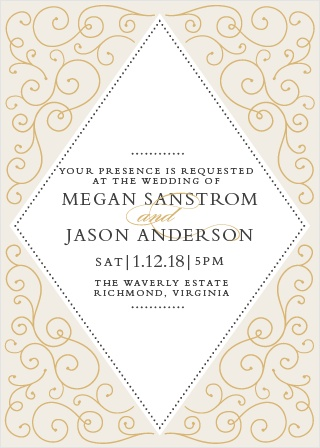If you love the elegance and class of flourishes and foil, then the Swirl Frame Foil Invitation is perfect for you.