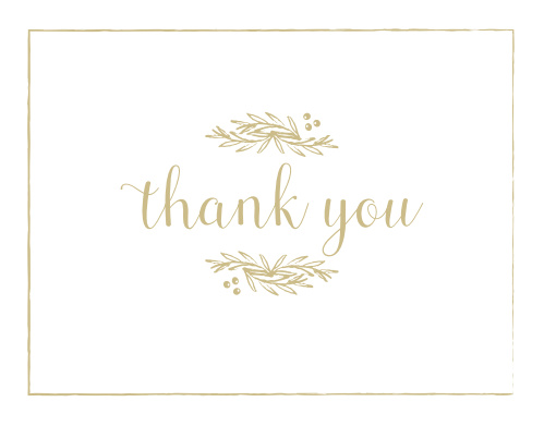 Express your gratitude to family and friends with the Delicate Laurel Foil Thank You Card. Customize each element of its foil design to create a card unique to your style!