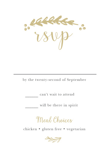 RSVP cards have never been as simply beautiful nor as beautifully simple as the Delicate Laurel Foil Response Cards!