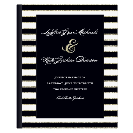Note: The gold stripes are not actual glitter. The glitter is an image of glitter and will print flat.  Add some sparkle to your guest book with the Elegant Gold Stripes. Customize the colors and fonts to make your guest book truly one of a kind.