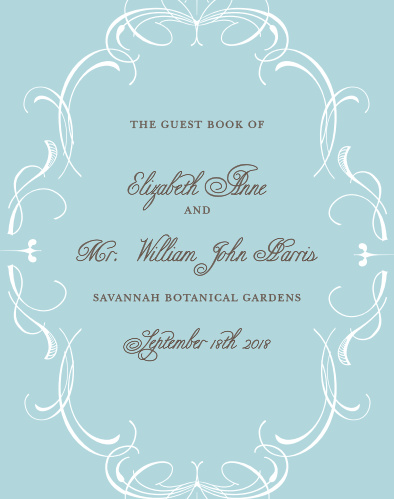 If your dream wedding has swirls and flourishes, look no further than this charming guest book. The Flourish Charm Guest Book has a sophisticated look that highlights you and your partner's names and will assuredly make your guests look forward to filling it out.
