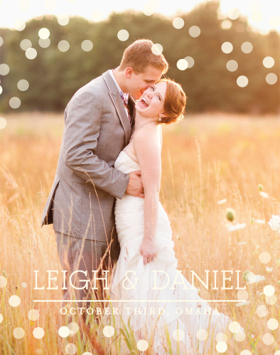 Confetti has always been a sign of happy celebrations, so why not include some on your guest book? Upload your photo and customize the fonts and colors to match your beautiful wedding.