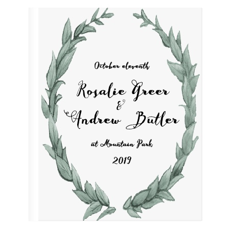 This beautifully simple guest book is adorned in a great watercolored wreath. With its green leaves as a wreath and border, you are sure to impress with this book.