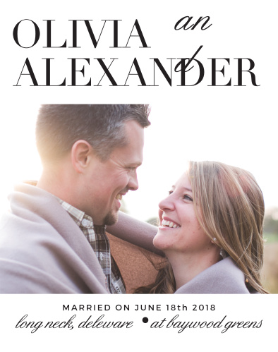 Sometimes a photo and some text of you and your loved one is all you need, and you can have just that with the Typography Guest Book. Upload the single photo on the front face and you'll be set!