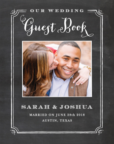The White Chalkboard Guest Book has a trendy handwritten feel. Upload your picture, customize the colors, and make the perfect guest book for your perfect day!