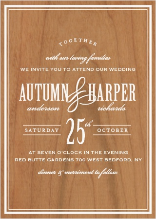 Looking for a card packed with class? The bold sophistication of the Antique Elegance Wood Wedding Invitations announces your wedding with timeless style.