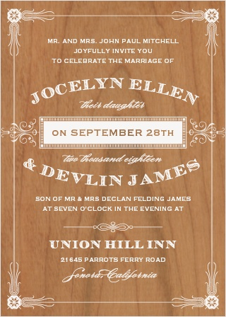 The Antique Frame Wood Wedding Invitations are wonderful cards with a country-western feel.