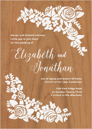 Your guests will be delighted when they receive The Corner Wreath Wood Invitations.
