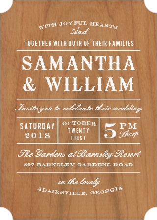 Old time country music posters get a nod with the Country Bash Wood Wedding Invitations.