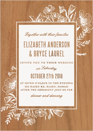 The Floral Border Wood Wedding Invitation is printed on a real wood veneer.