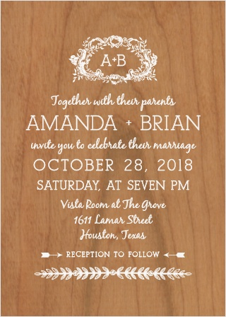If swirls and curls are your style, the In Cursive Wood Wedding Invitation is for you.