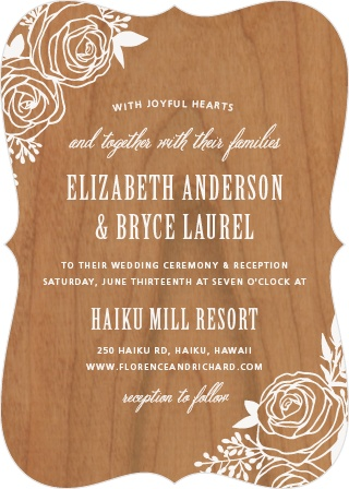 The Rustic Flowers Wood Wedding Invitations add a delicate floral touch to your wedding day details.