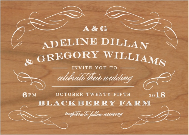 The beautiful Scrolled Frame Wood Wedding Invitations are elegant landscape cards.