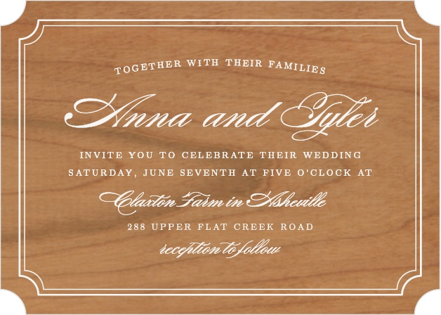 Looking for a card packed with class? The bold sophistication of the Simple Frame Wood Wedding Invitations announces your wedding with timeless style.