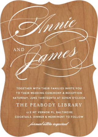 Luxury and rustic charm marry in the Simplicity Wood Wedding Invitations.