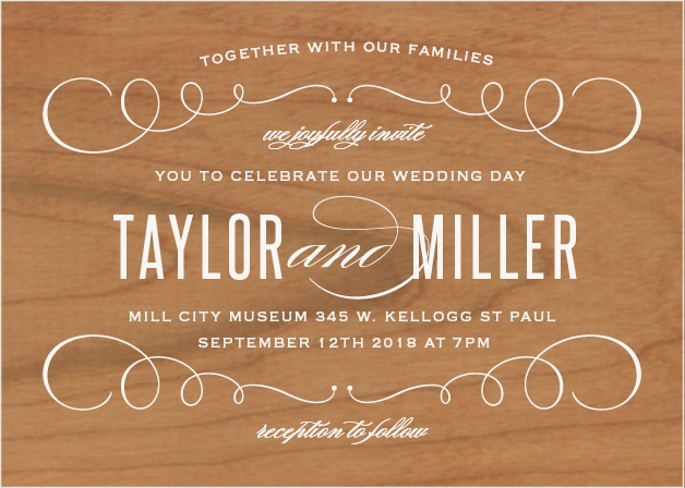 The Swirl Frame Wood Wedding Invitation marries classic and modern in this fresh landscape style design.
