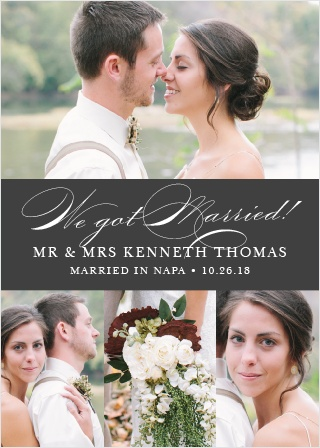 Classic Script Wedding Announcement is lovely way to show off your wedding day to all of your family and friends.