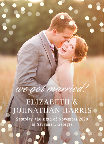 Glamorous Standard Wedding Announcement. This announcement features a full page photo of your choosing while still leaving plenty of room to customize your text.