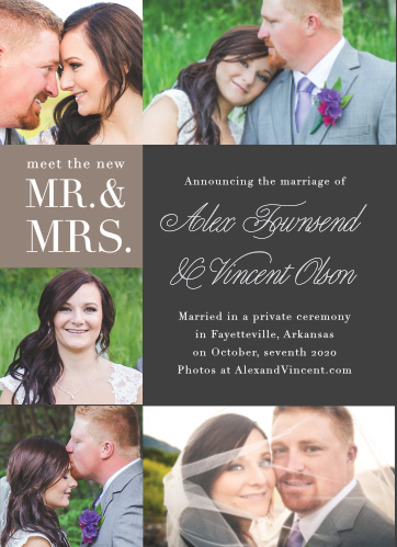 New Mr. and Mrs. Wedding Announcement is perfect for the eclectic couple!