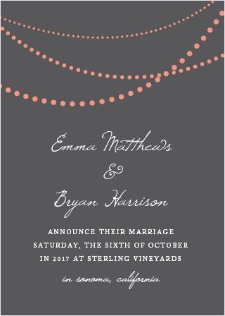 String Lights Wedding Announcement