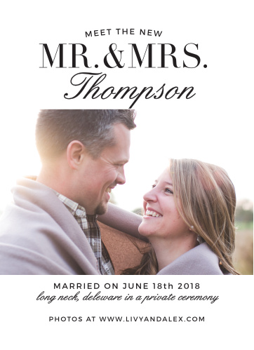 Typography Wedding Announcement