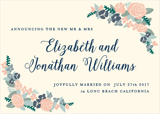 Our Illustrated Corner Wreath Wedding Announcement features a beautiful floral design.