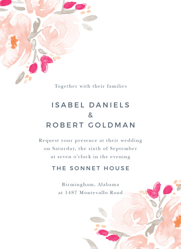 Watercolor painting and beautiful flowers meet in the fantastic Watercolor Bouquet Wedding Invitations.