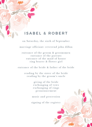 Organize and layout your wedding day with the beautiful Watercolor Bouquet Wedding Program.