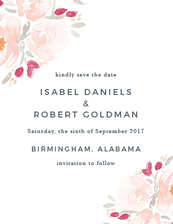 Designed to match the similarly named Watercolor Bouquet suite, this Save-the-Date Card is an easy and beautiful way to announce your upcoming marriage to your guests.