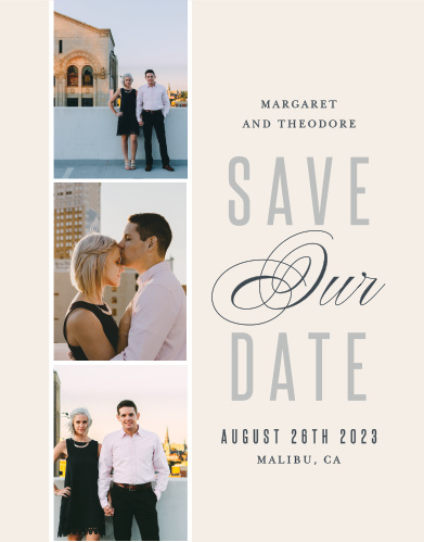 The chic layout of the Traditionally Formal save-the date card allows you to make the card as formal or casual as you want it to be. The heading features the bride and grooms names followed underneath by the custom information you want printed.