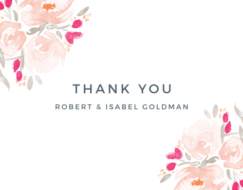 No wedding is complete without a proper thank you, and there is no better way to thank your guests than with the exquisite Watercolor Bouquet Thank You cards!