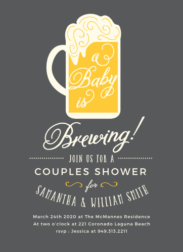 "Everyone will say ""Three cheers for baby!"" when they receive the bubbly and fun Baby Brewing Baby Shower Invitations."